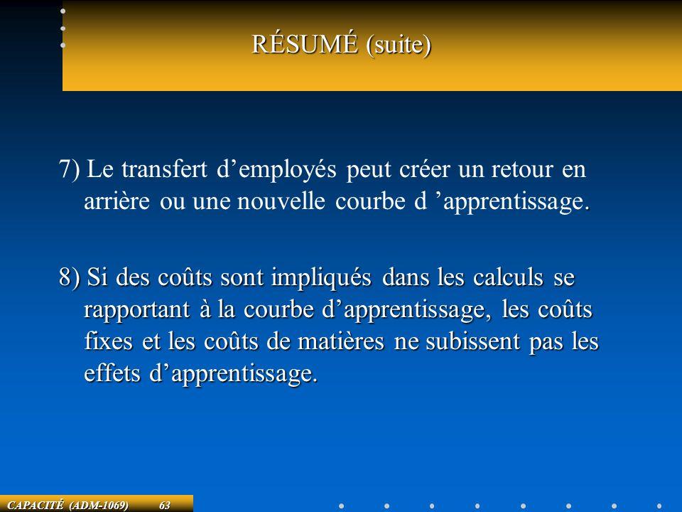 RÉSUMÉ (suite) 7) Le transfert d'employés peut créer un retour en arrière ou une nouvelle courbe d 'apprentissage.