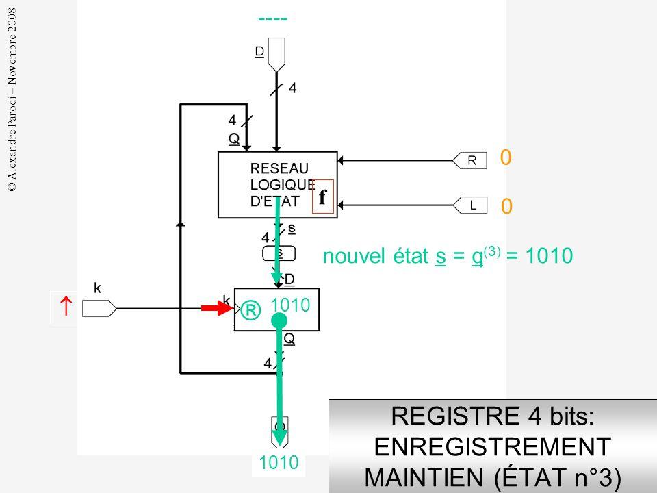 REGISTRE 4 bits: ENREGISTREMENT MAINTIEN (ÉTAT n°3)