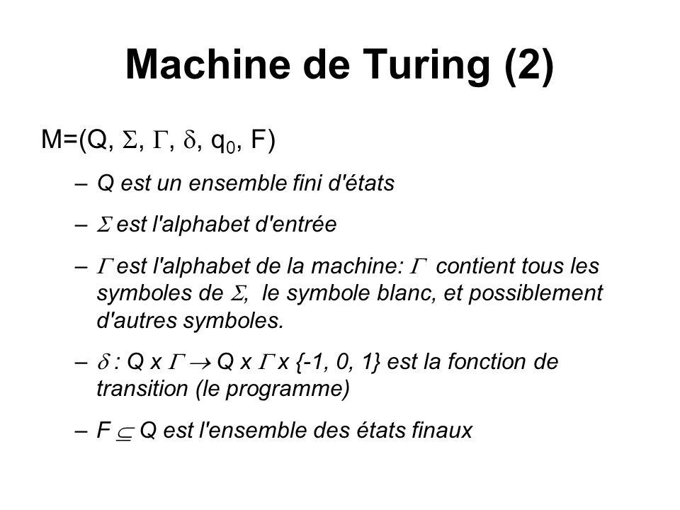 Machine de Turing (2) M=(Q, , , , q0, F)