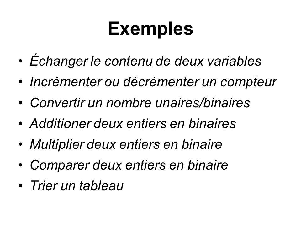 Exemples Échanger le contenu de deux variables