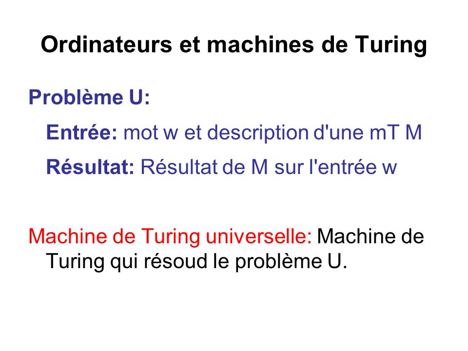 Ordinateurs et machines de Turing