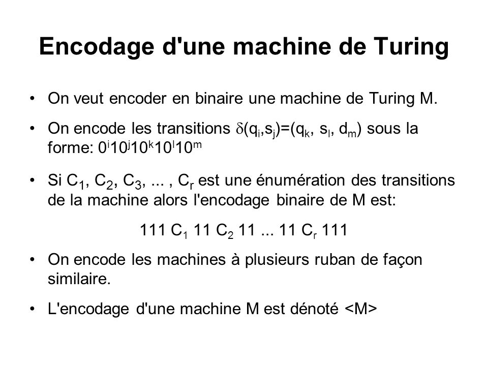 Encodage d une machine de Turing