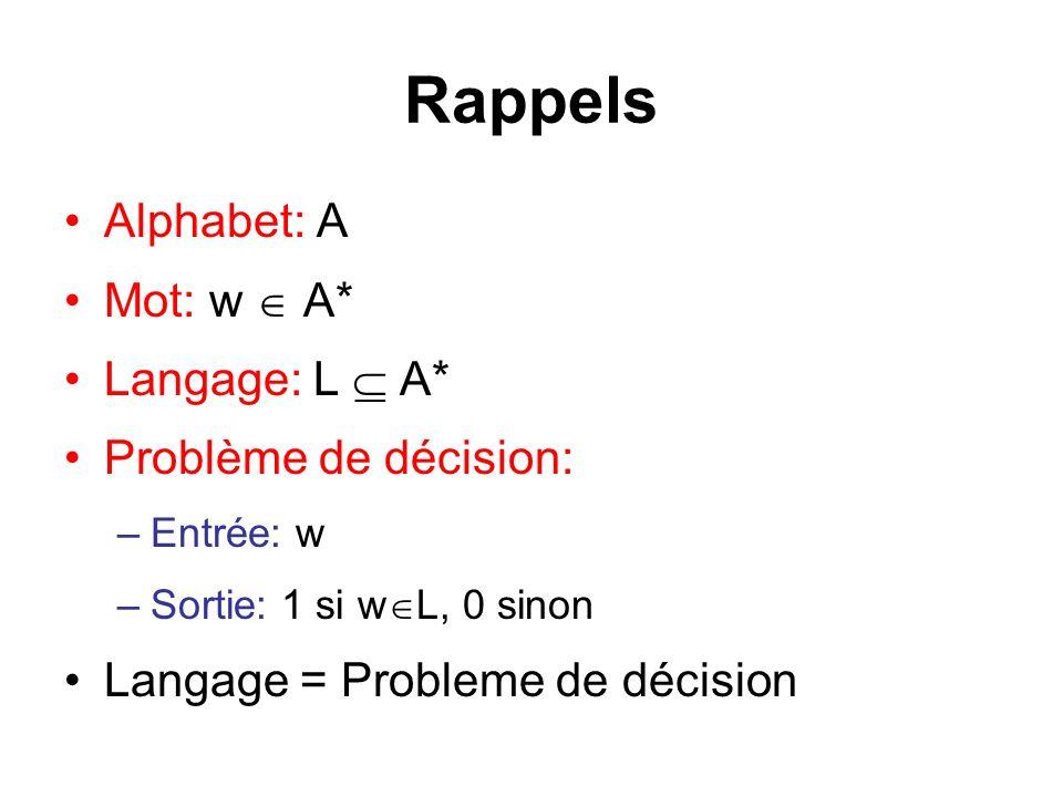 Rappels Alphabet: A Mot: w  A* Langage: L  A* Problème de décision: