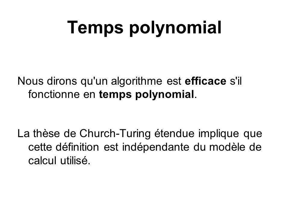 Temps polynomialNous dirons qu un algorithme est efficace s il fonctionne en temps polynomial.