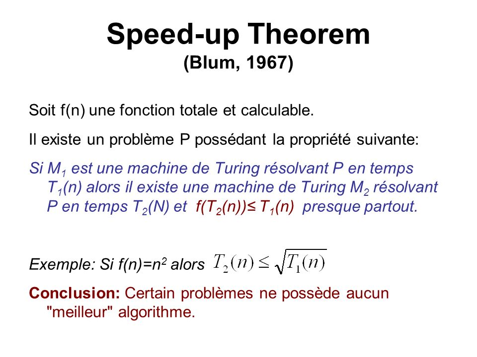Speed-up Theorem (Blum, 1967)