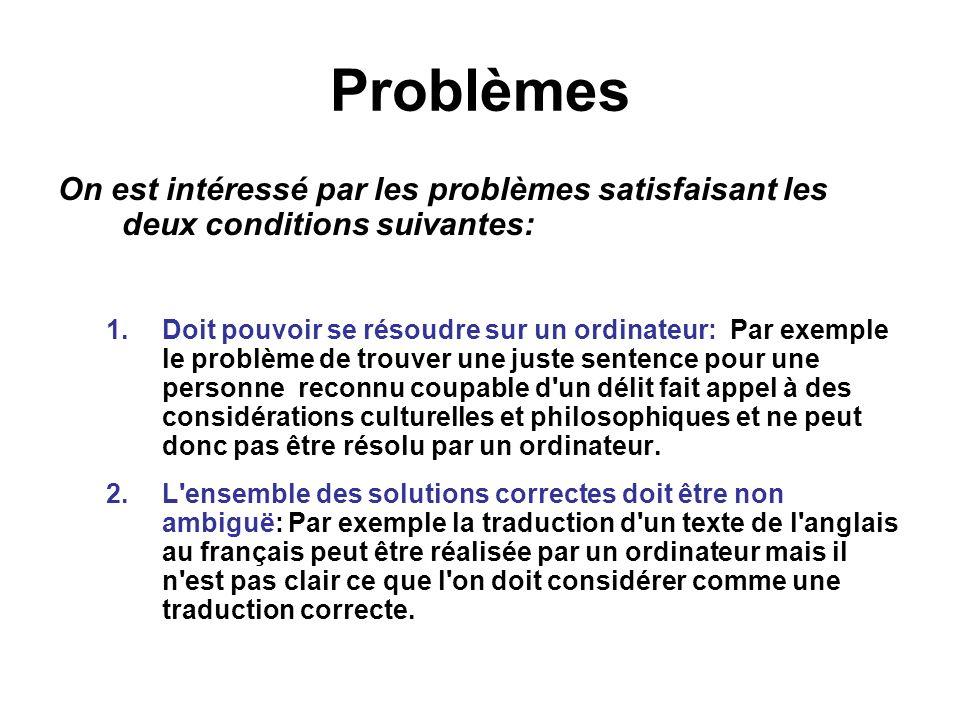 Problèmes On est intéressé par les problèmes satisfaisant les deux conditions suivantes: