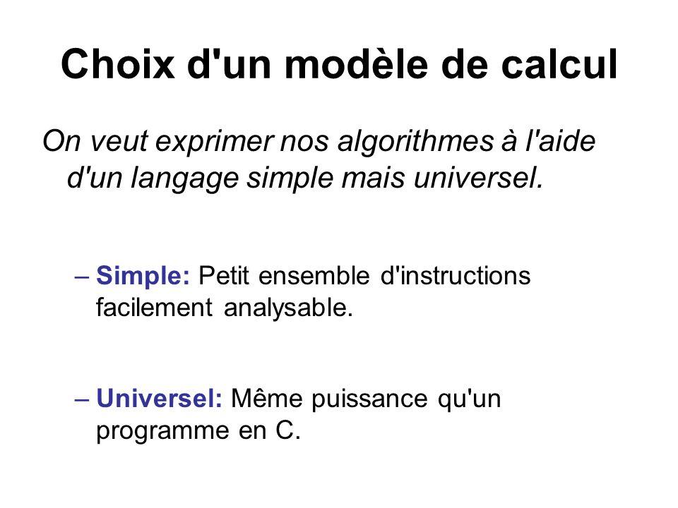 Choix d un modèle de calcul
