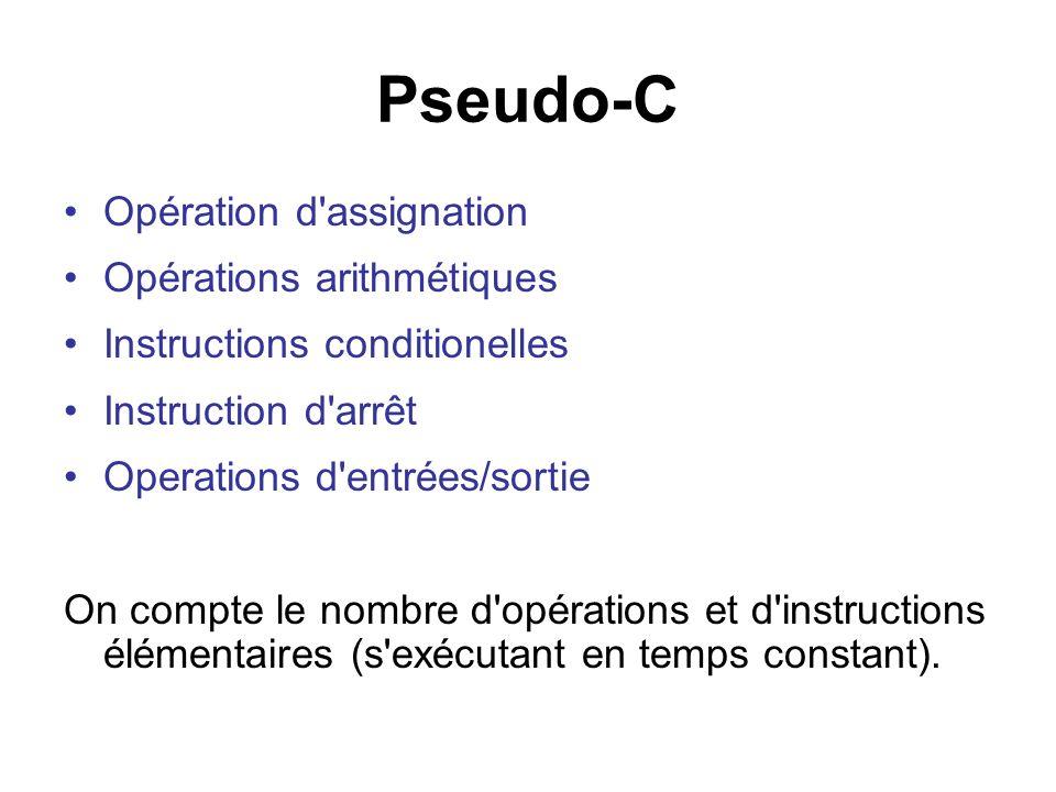 Pseudo-C Opération d assignation Opérations arithmétiques