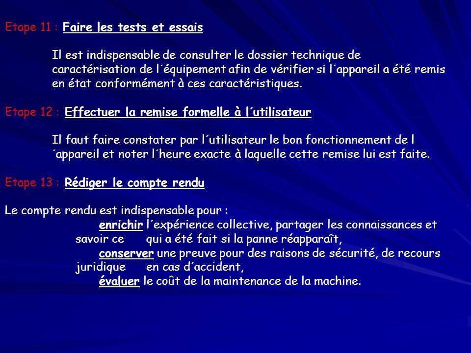 Etape 11 : Faire les tests et essais