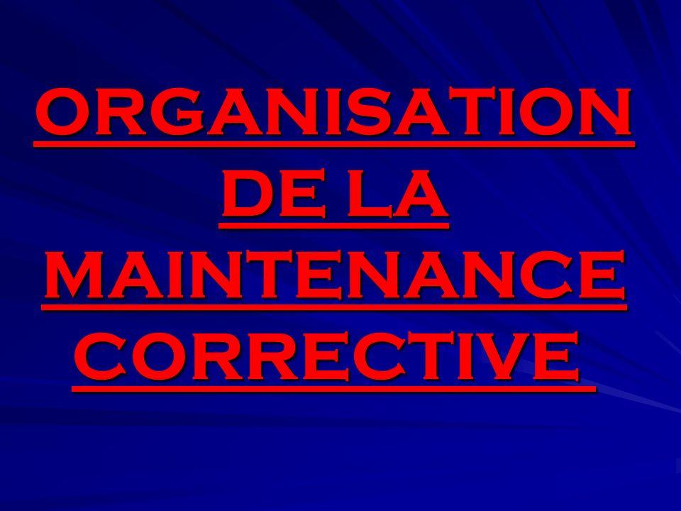 ORGANISATION DE LA MAINTENANCE CORRECTIVE