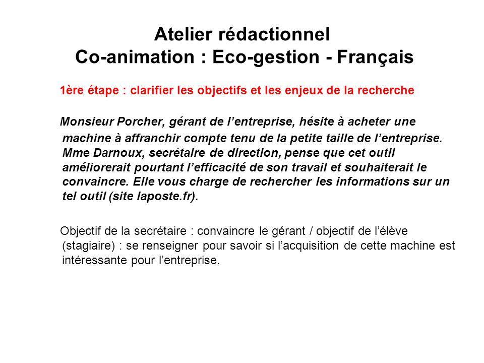 Atelier rédactionnel Co-animation : Eco-gestion - Français