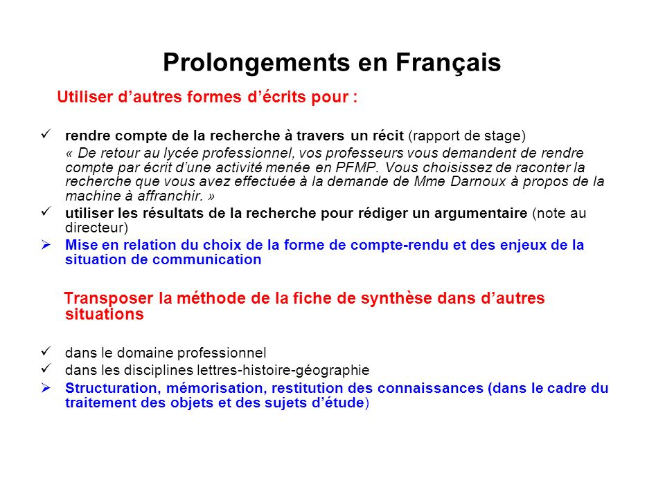 Prolongements en Français