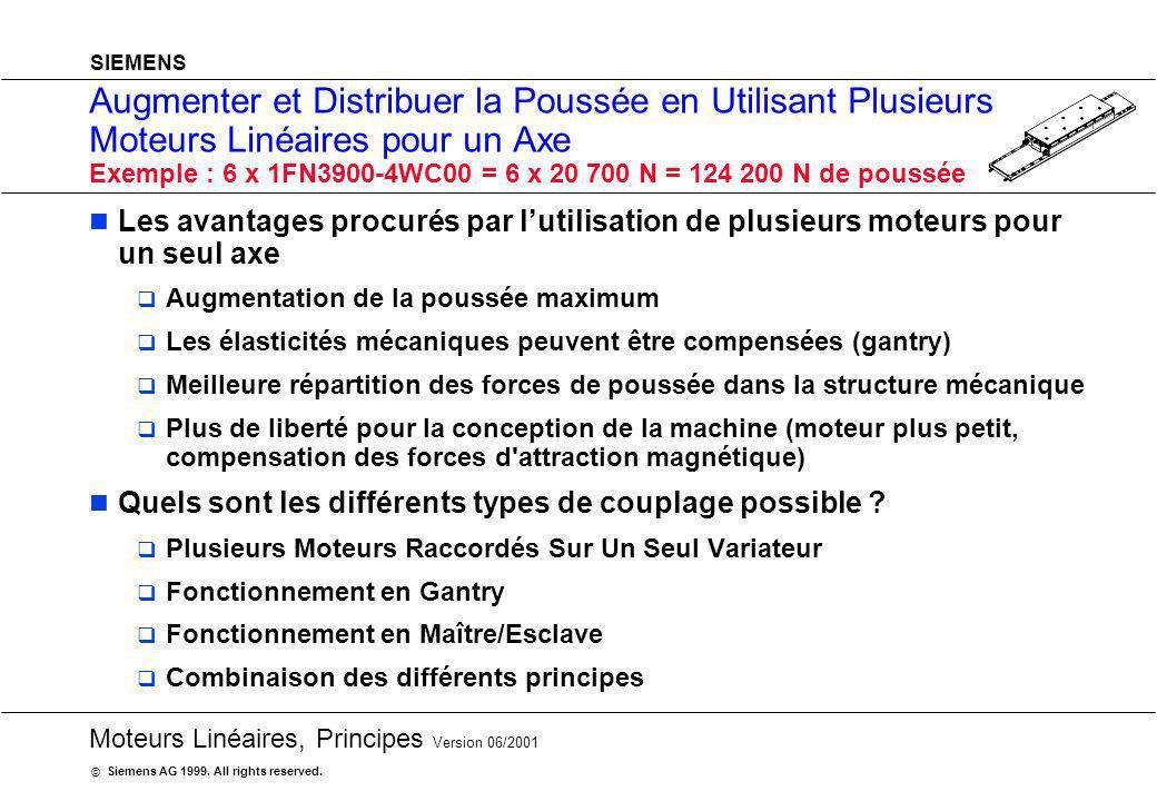 Augmenter et Distribuer la Poussée en Utilisant Plusieurs Moteurs Linéaires pour un Axe Exemple : 6 x 1FN3900-4WC00 = 6 x 20 700 N = 124 200 N de poussée