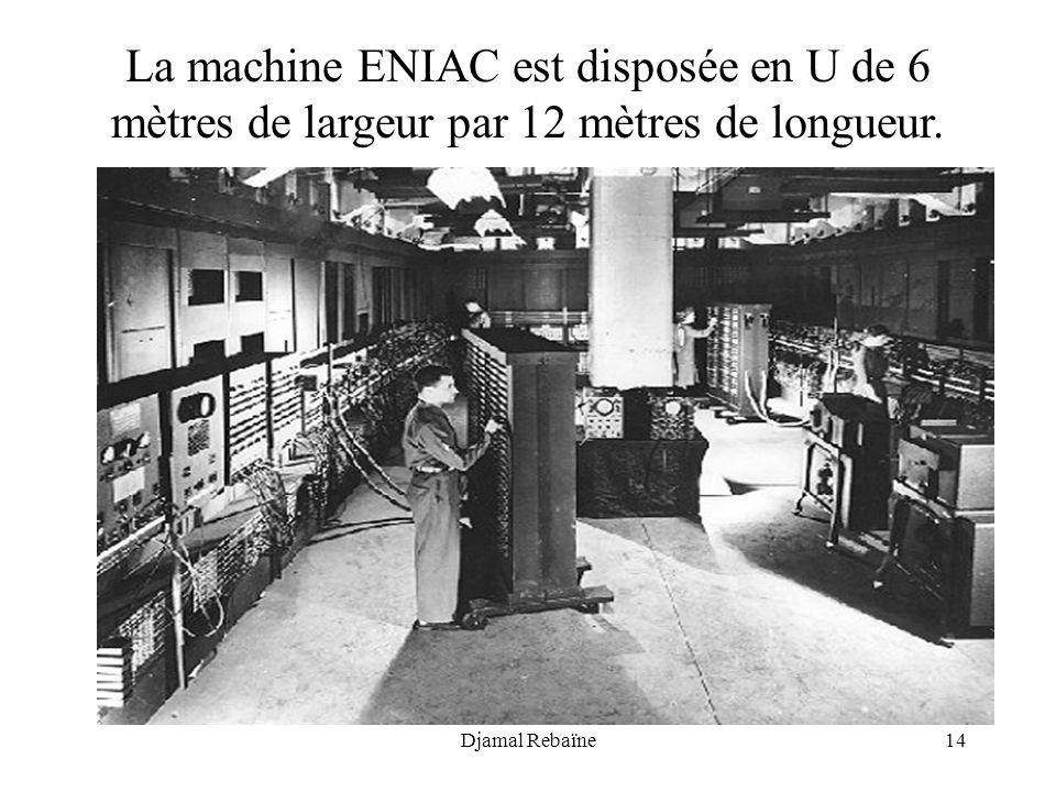 La machine ENIAC est disposée en U de 6 mètres de largeur par 12 mètres de longueur.