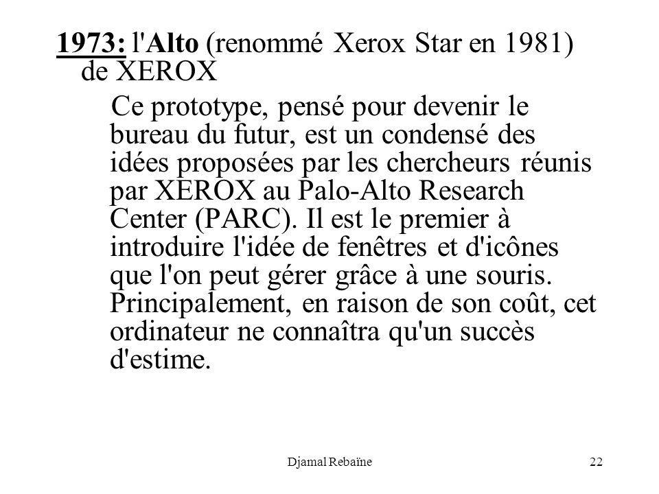1973: l Alto (renommé Xerox Star en 1981) de XEROX