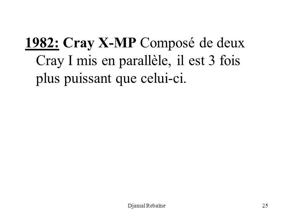 1982: Cray X-MP Composé de deux Cray I mis en parallèle, il est 3 fois plus puissant que celui-ci.