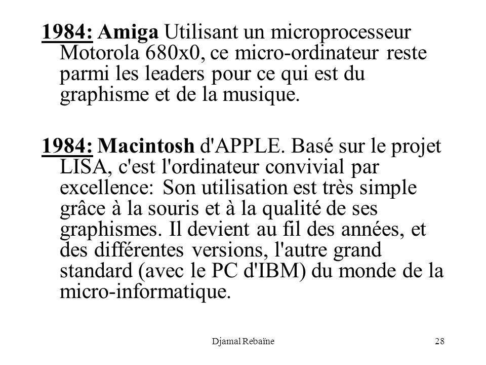 1984: Amiga Utilisant un microprocesseur Motorola 680x0, ce micro-ordinateur reste parmi les leaders pour ce qui est du graphisme et de la musique.