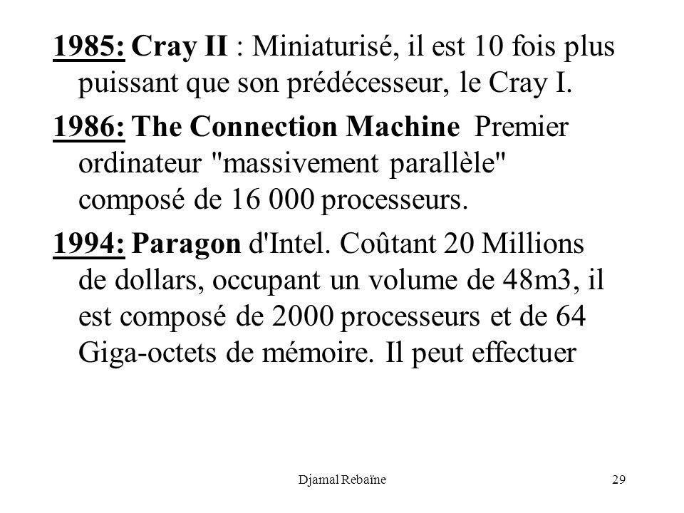 1985: Cray II : Miniaturisé, il est 10 fois plus puissant que son prédécesseur, le Cray I.