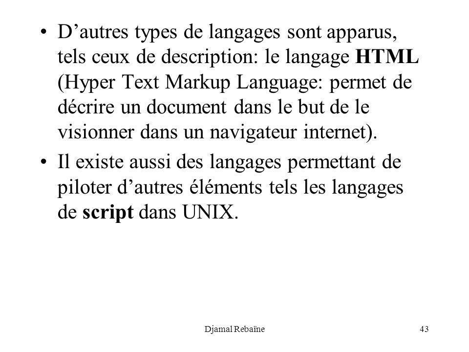 D'autres types de langages sont apparus, tels ceux de description: le langage HTML (Hyper Text Markup Language: permet de décrire un document dans le but de le visionner dans un navigateur internet).