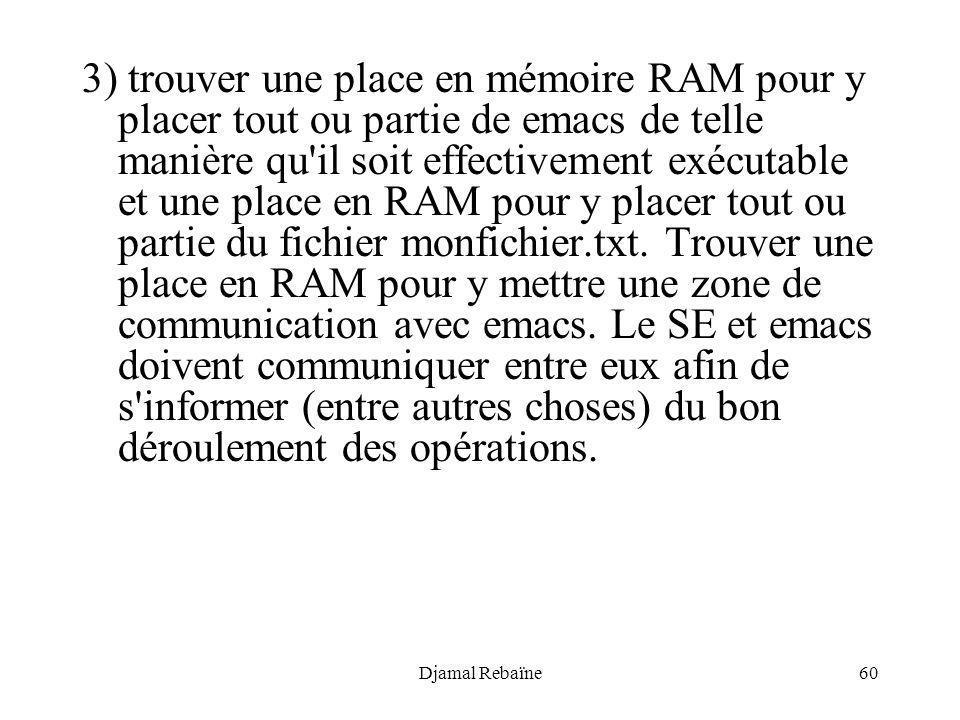 3) trouver une place en mémoire RAM pour y placer tout ou partie de emacs de telle manière qu il soit effectivement exécutable et une place en RAM pour y placer tout ou partie du fichier monfichier.txt. Trouver une place en RAM pour y mettre une zone de communication avec emacs. Le SE et emacs doivent communiquer entre eux afin de s informer (entre autres choses) du bon déroulement des opérations.
