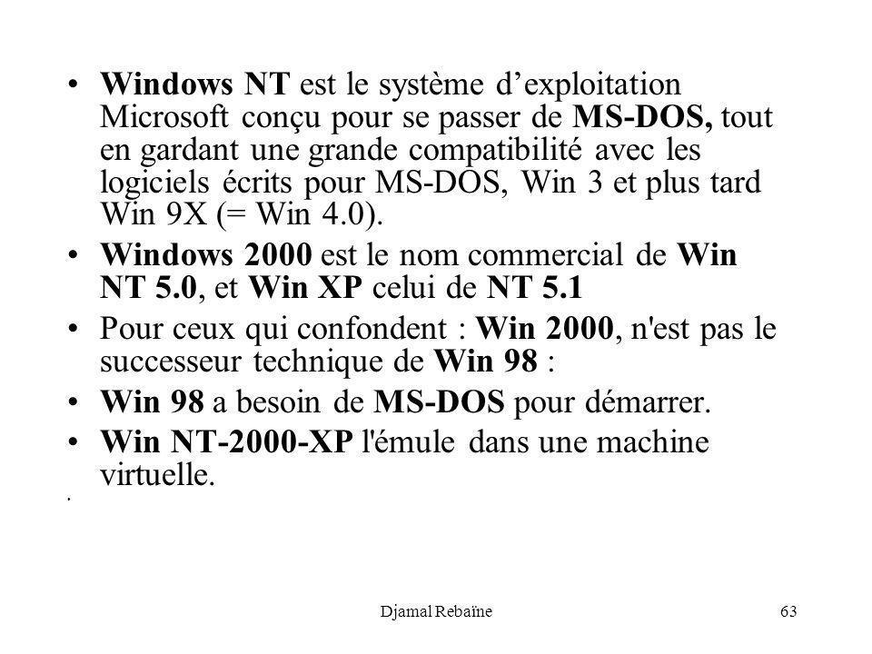 Win 98 a besoin de MS-DOS pour démarrer.