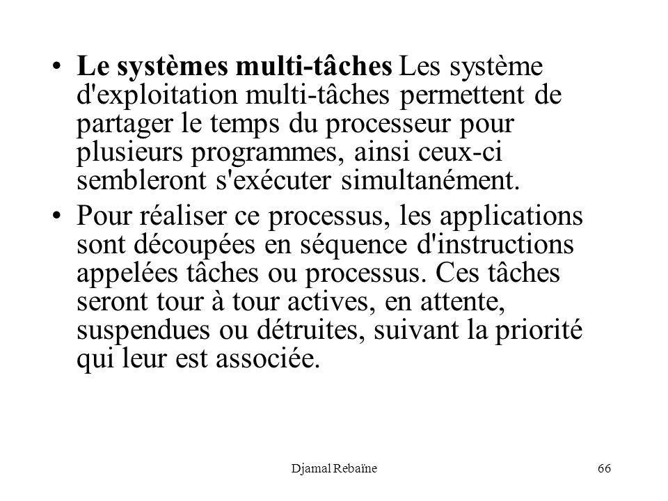 Le systèmes multi-tâches Les système d exploitation multi-tâches permettent de partager le temps du processeur pour plusieurs programmes, ainsi ceux-ci sembleront s exécuter simultanément.
