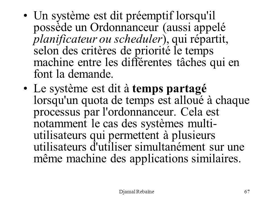 Un système est dit préemptif lorsqu il possède un Ordonnanceur (aussi appelé planificateur ou scheduler), qui répartit, selon des critères de priorité le temps machine entre les différentes tâches qui en font la demande.