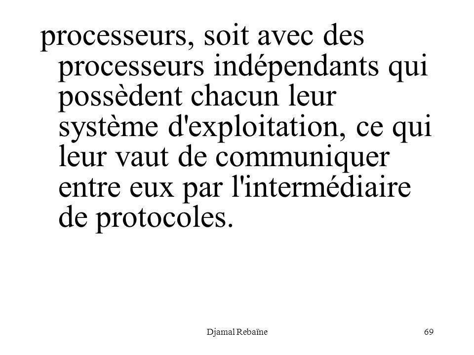 processeurs, soit avec des processeurs indépendants qui possèdent chacun leur système d exploitation, ce qui leur vaut de communiquer entre eux par l intermédiaire de protocoles.