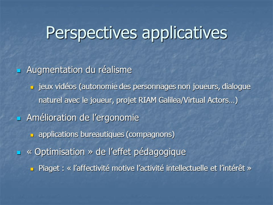Perspectives applicatives