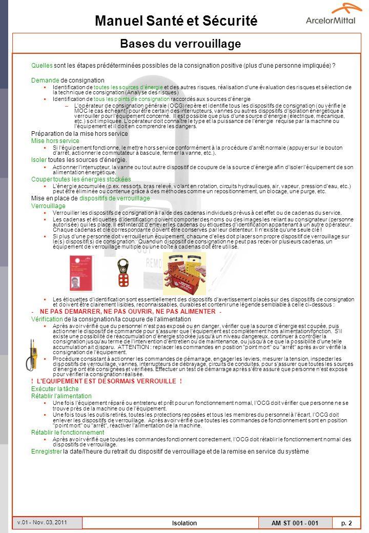 Bases du verrouillage Quelles sont les étapes prédéterminées possibles de la consignation positive (plus d une personne impliquée)