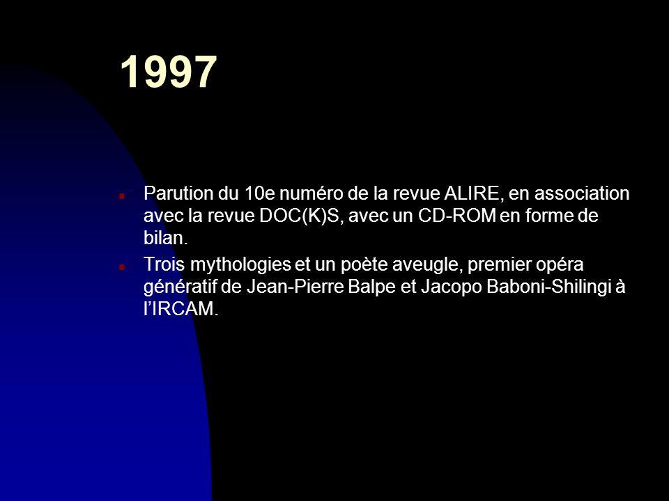 30/03/20171997. Parution du 10e numéro de la revue ALIRE, en association avec la revue DOC(K)S, avec un CD-ROM en forme de bilan.