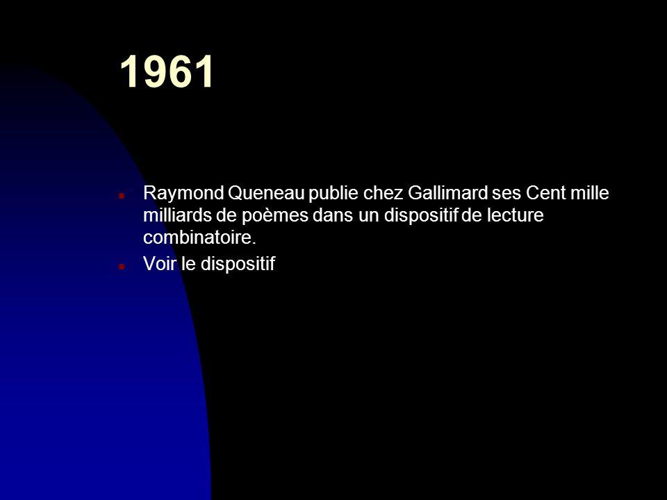 30/03/20171961. Raymond Queneau publie chez Gallimard ses Cent mille milliards de poèmes dans un dispositif de lecture combinatoire.