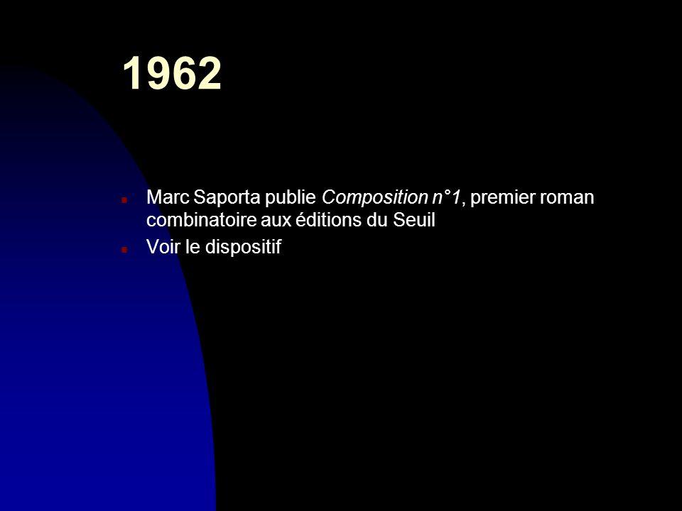30/03/20171962. Marc Saporta publie Composition n°1, premier roman combinatoire aux éditions du Seuil.