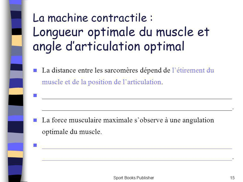 La machine contractile : Longueur optimale du muscle et angle d'articulation optimal
