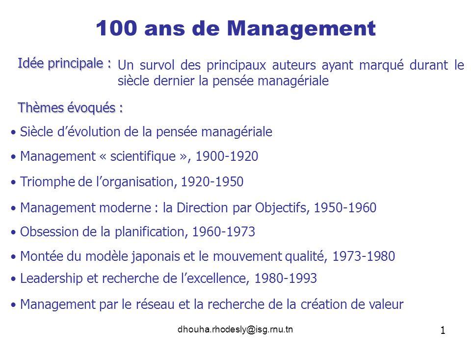 100 ans de Management Idée principale :