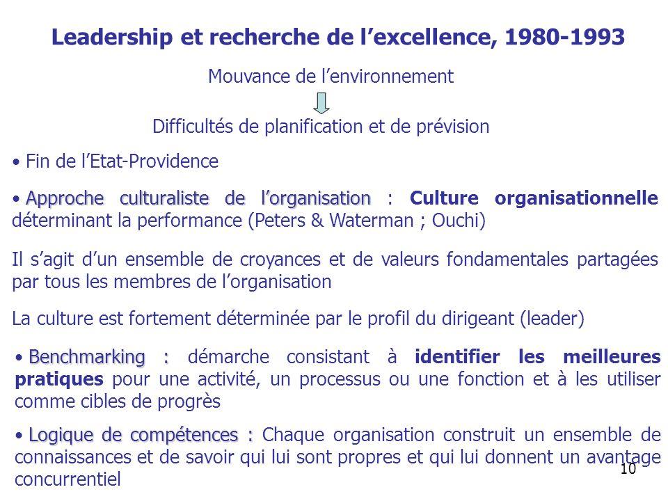 Leadership et recherche de l'excellence, 1980-1993