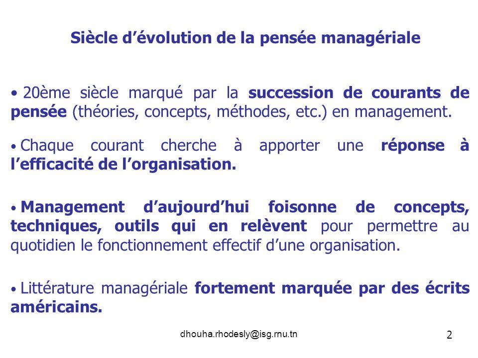 Siècle d'évolution de la pensée managériale