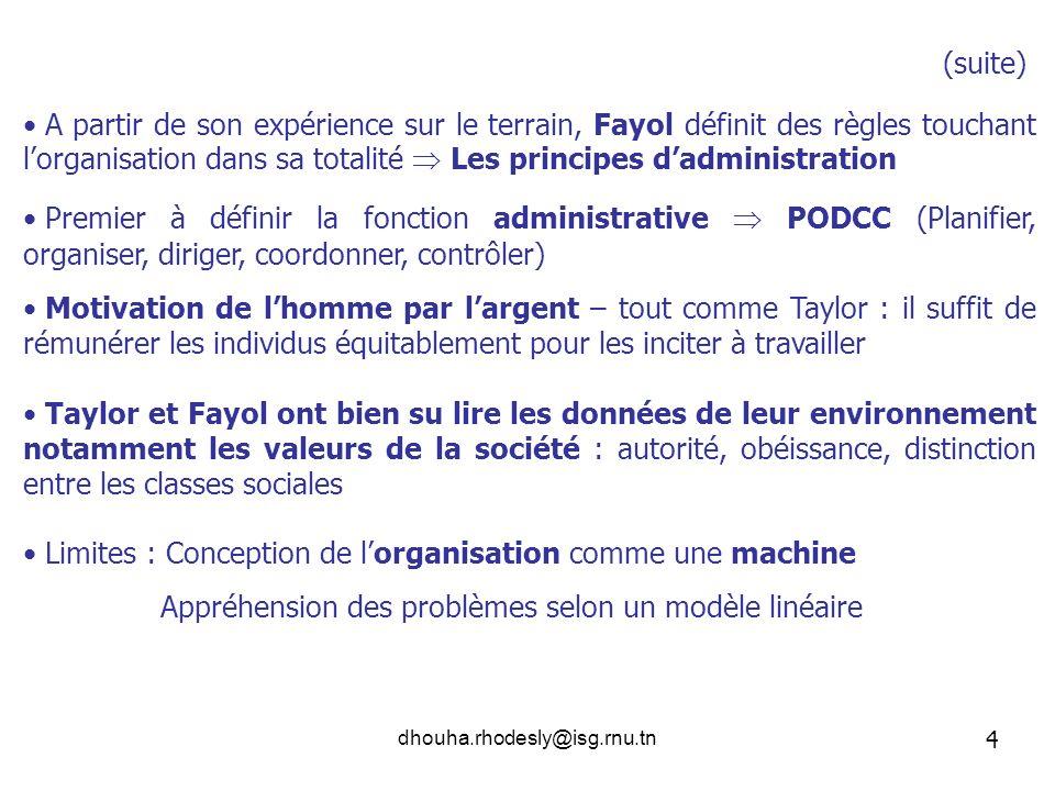 Limites : Conception de l'organisation comme une machine