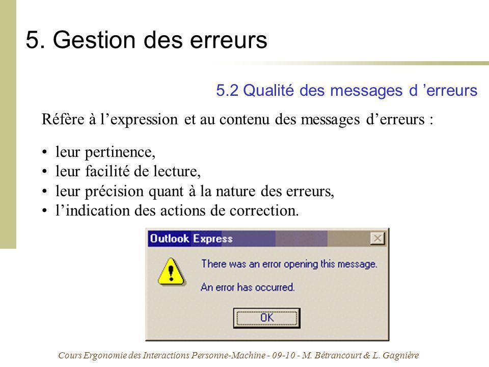 5. Gestion des erreurs 5.2 Qualité des messages d 'erreurs