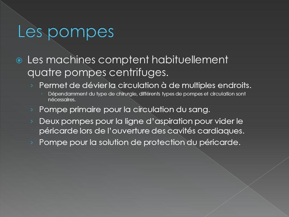Les pompes Les machines comptent habituellement quatre pompes centrifuges. Permet de dévier la circulation à de multiples endroits.