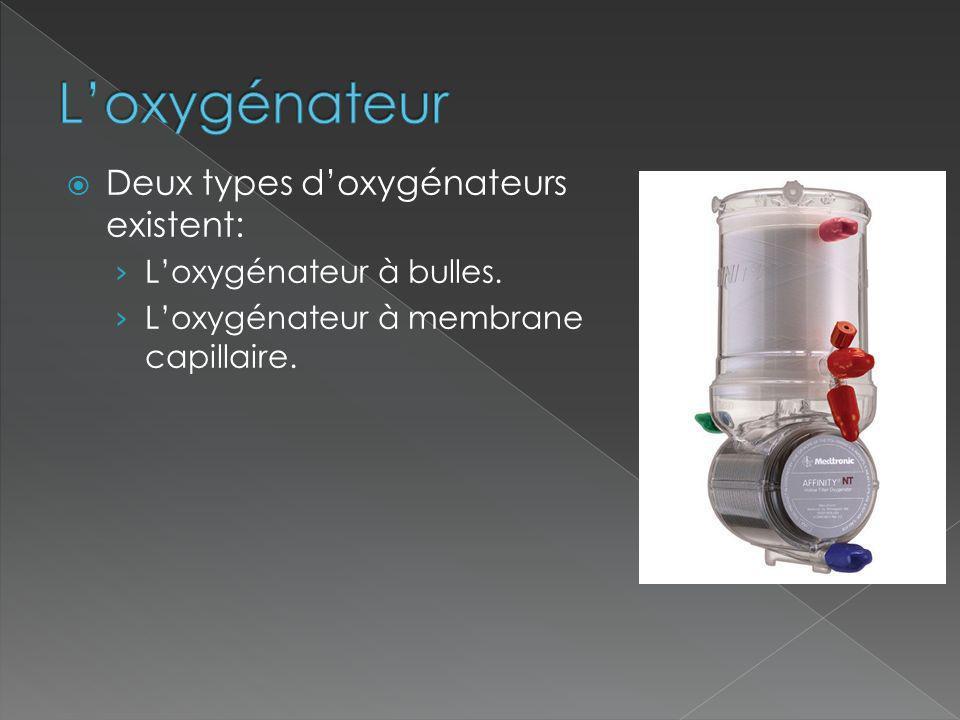 L'oxygénateur Deux types d'oxygénateurs existent: