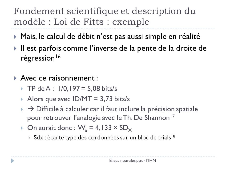 Fondement scientifique et description du modèle : Loi de Fitts : exemple