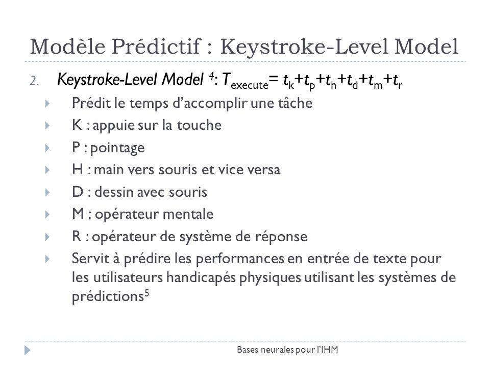Modèle Prédictif : Keystroke-Level Model