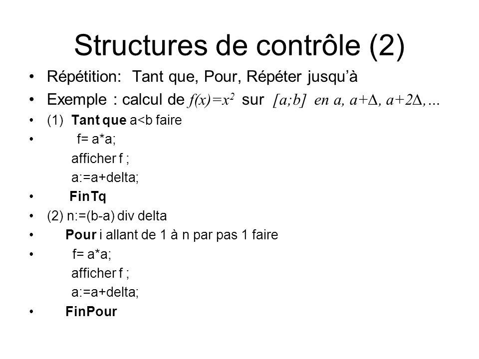 Structures de contrôle (2)