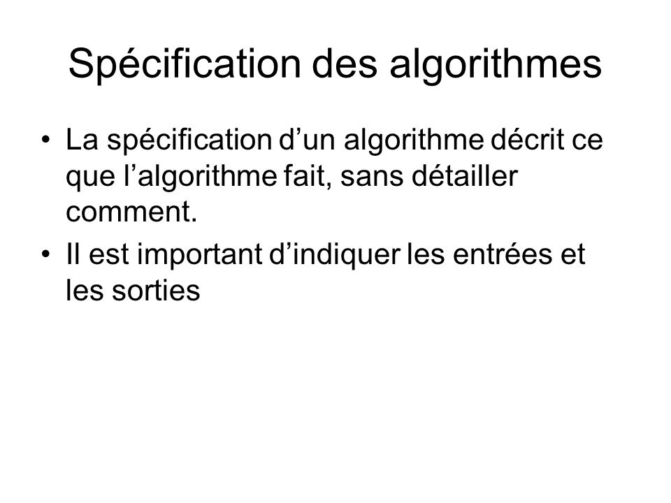 Spécification des algorithmes