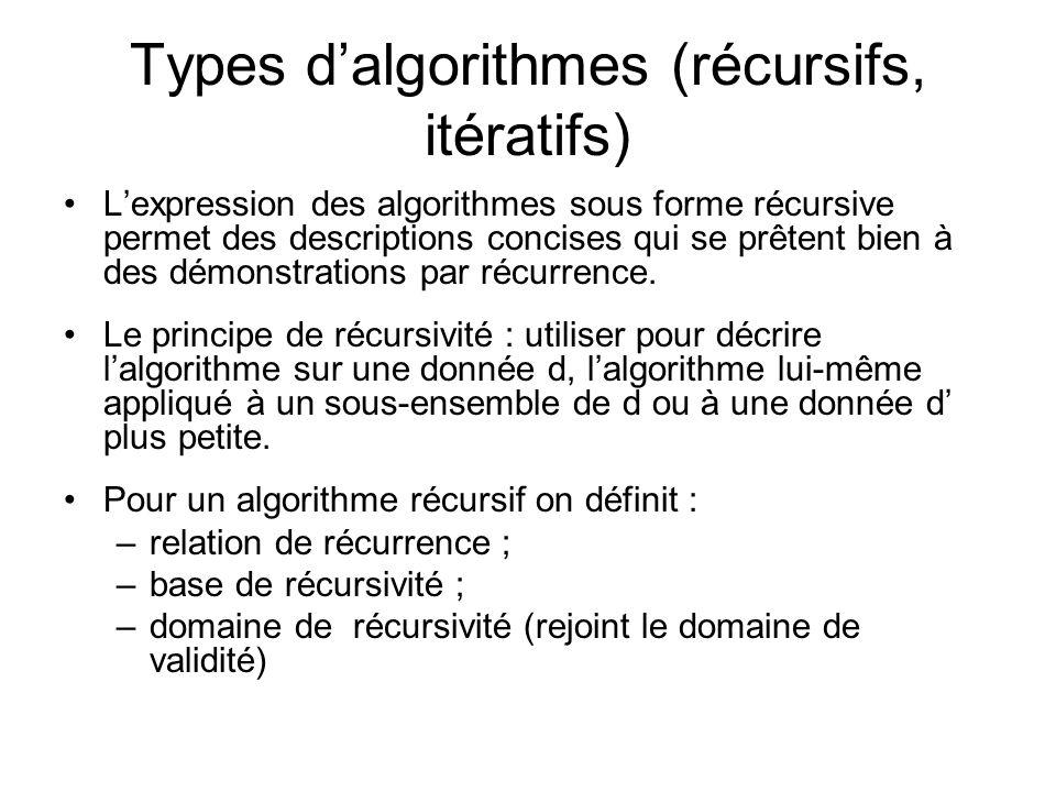 Types d'algorithmes (récursifs, itératifs)