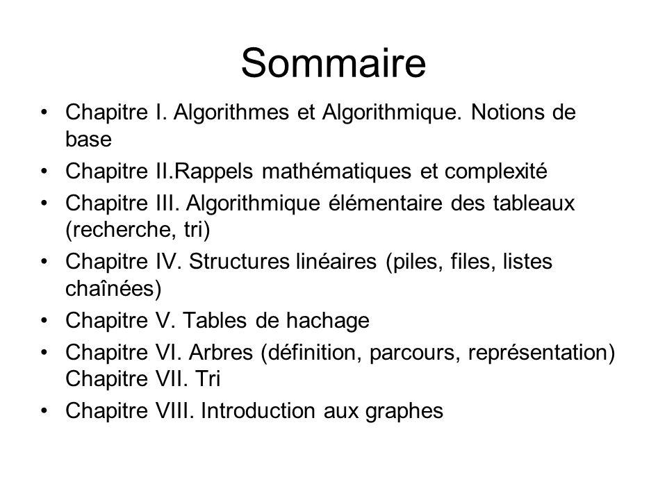 Sommaire Chapitre I. Algorithmes et Algorithmique. Notions de base