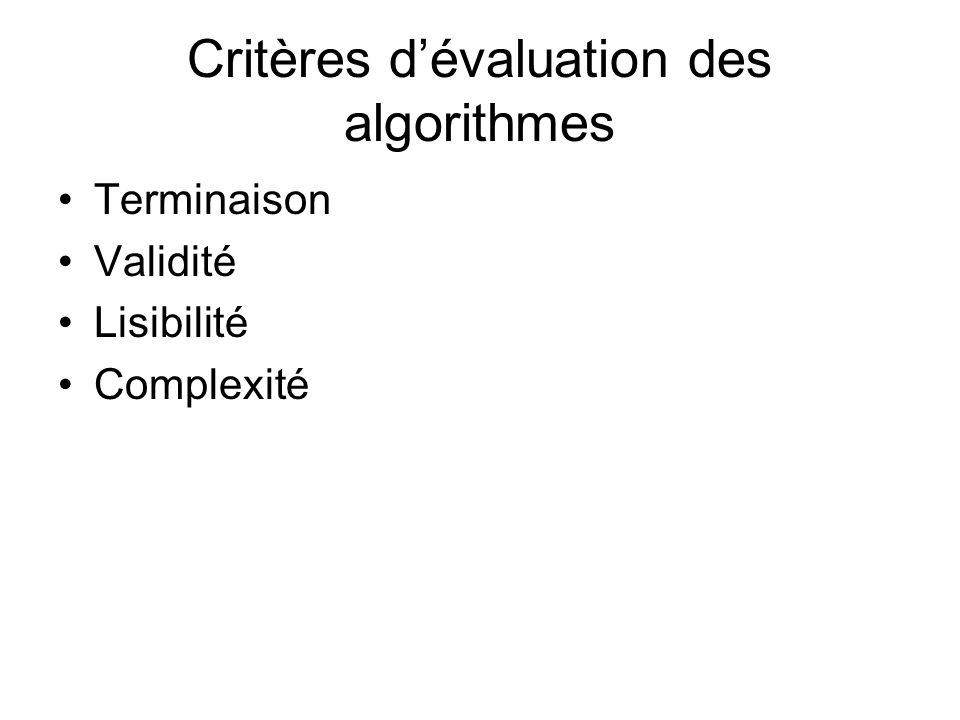 Critères d'évaluation des algorithmes