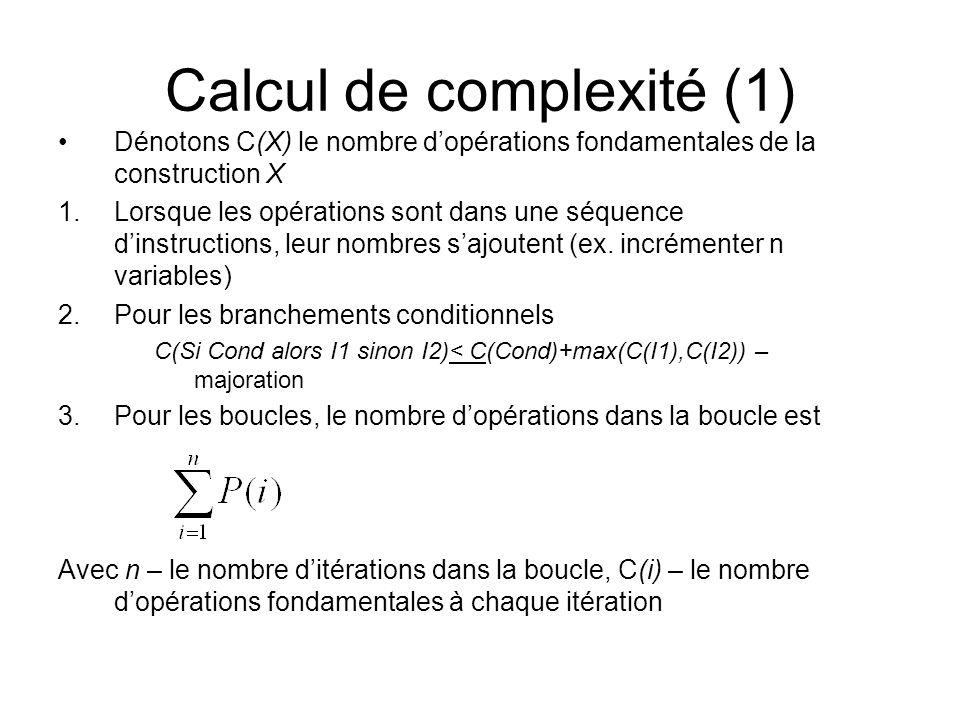 Calcul de complexité (1)