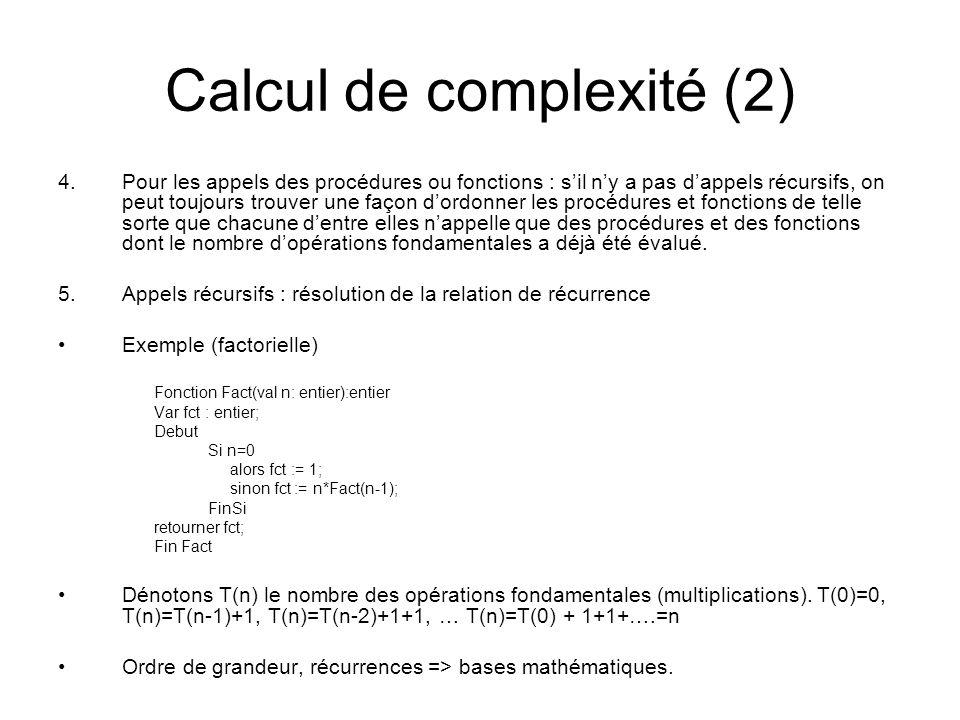 Calcul de complexité (2)